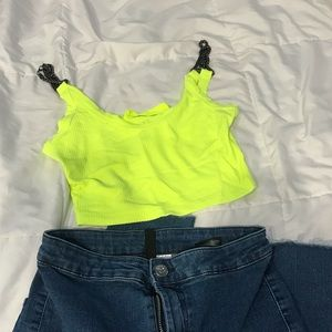 LF Neon chained strapped crop top